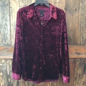 Investments, XL, NWT, Burgundy Velvet Shirt